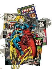 Marvel Comics Retro Badge Featuring Ghost Rider Poster