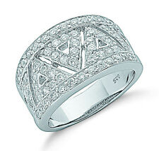Dome Ring Wide Band Ring Sterling Silver Rhodium Plated Ring