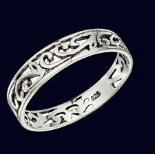 Silver band Ring Filigree ring Sterling silver band Ladies silver ring