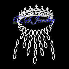 Wave Clear Swarovski Crystal Rhinestones Neklace & Earring & Crown/Tiara