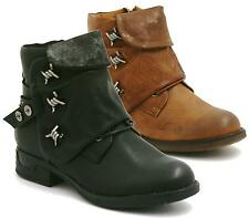 Womens Combat Style Army Worker Military Ankle Boots Flat Punk Goth Shoes Size