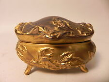 ANTIQUE ART NOUVEAU STYLE GILDED BRASS TRINKET BOX WITH BUTTONS AND SHOE CLIPS