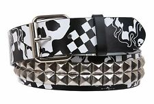 Snap On Art work Skull Cross Bone Tattoo Print Punk Rock Studded Leather Belt