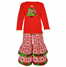 AnnLoren Girls Red Lattice Boutique Christmas Tree Outfit 12/18 mo - 9/10
