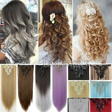 US Ombre Dip Dye 8Pcs Full Head Clip in Real Human Hair Extensions Synthetic FD1