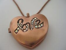 New Kirks Folly Goldtone or Coppertone Love Always Heart Locket Chain Necklace