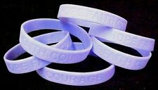 "Periwinkle Awareness Bracelets Lot of 6 Cancer Silicone Wristband 8"" IMPERFECT"