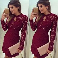 Sexy Women Casual Evening Cocktail Dress Lace Long Sleeve Bodycon Floral Skirt