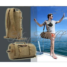 Mens Vintage Canvas Travel Hiking Camping Backpack Rucksack PAD Shoulder Bag