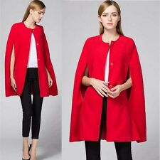 Women Casual Cape Red Batwing Poncho Jacket Lady Winter Warm Cardigan Cloak Coat