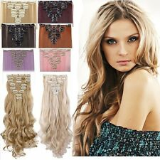 UK Full Head 18clips Clip in on Hair Extensions Real thick as human hair 8PC T7z