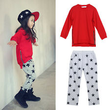 2pcs Toddler Kids Baby Girls Outfits Cotton T-shirt Tops+star pants Clothes Set