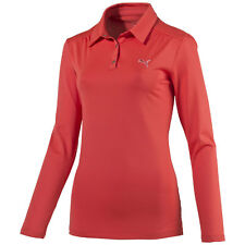 Puma W Sports LS Polo Shirt Long sleeve Ladies Golf Dry Cell red