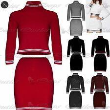 Womens Ladies Ribbed Knitted Co-Ordinates Crop Set Polo Neck Mini Top Skirts