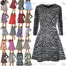 Womens Ladies Floral Summer Print Flared Long Sleeve Skater Mini Swing Dress Top