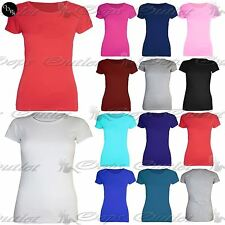 Ladies Womens Short Sleeves Basic Jersey Cotton Tunic Tee Vest T Shirt Top