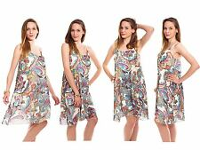 Ladies Womens Strappy Sleeveless Chiffon Camisole Printed Tops Vest Swing Dress