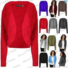 Womens Ladies Chunky Cable Knit Long Sleeve Open Front Shrug Bolero Cardigan Top
