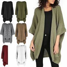 Ladies Womens Oversized Knit Batwing Waterfall Poncho Sweater Open Cape Cardigan