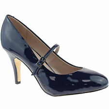 LADIES LOTUS SERENOA NAVY PATENT SHOES MARY JANE VINTAGE RETRO HEELS 50321NV