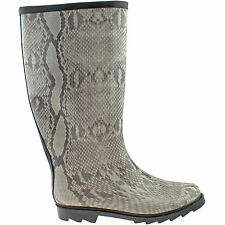 LADIES SNAKE SKIN WELLINGTON BOOTS SIZE UK 3 - 6 WOMENS WELLIES FESTIVAL RAIN