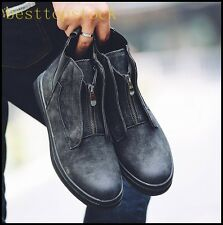 On Sale Mens Boy Stylish Oxford Zip Ankle Boots Flats Faux Suede High Top Shoes