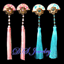 Colourful Carved 3D Brass Flowers on Fan Hair Clips Pair with Long Purls