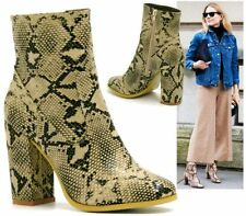 NEW LADIES SNAKE SKIN CELEB INSPIRED HIGH HEEL ZIP PULL ON FASHION ANKLE BOOT 3