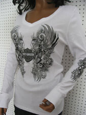 nwt HARLEY DAVIDSON V-Neck Wings & Roses Long Sleeve White Tee Shirt Top