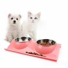 Eco-Friendly Plastic&Stainless Steel Pet Dog Cat Water Food Storage Bowls Feeder