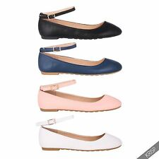 Women Girls Ankle Strap Fashion Ballerina Flats Pumps School Ballet Casual Shoes