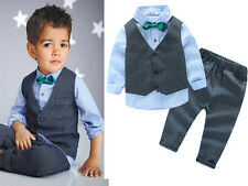 2pcs Baby Boys Kids Waistcoat +Shirt tops+Pants Outfits Gentleman Clothes Set