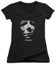 Juniors: Halloween II - Mask V-Neck Apparel Juniors (Slim) T-Shirt - Black