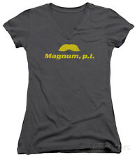 Juniors: Magnum P.I. - The Stache V-Neck Juniors (Slim) T-Shirt - Charcoal