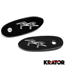 Honda CBR 600RR 900RR 1000RR 919 929 Mirror Block Off Plates Logo Engraved Black