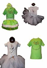 Christmas Grinch Olaf XMAS Baby Frozen Snowman Sparkle Girl Tutu 80s Fancy Dress