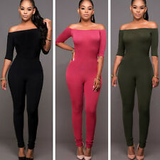 Hot Sexy Womens Dew Shoulder Bodycon Romper Slim Trousers Long Pants Jumpsuit