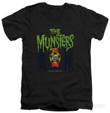The Munsters - 50 Year Logo V-Neck Apparel T-Shirt - Black