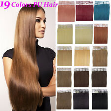18inch 20pcs/40g Straight 100% Remy Human Hair Extensions PU Tape in hair piece