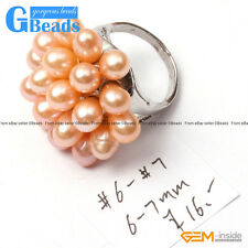 6-7mm Fashion Jewelry Silver Plated Pearl Ring Free Shipping US Size #7- #6