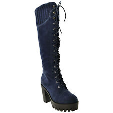 Womens Knee High Boots Lace Up Combat High Heel Shoes Blue