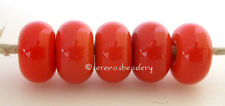 PHOENIX CORAL RED * donut handmade lampwork glass spacer beads TANERES sra