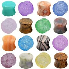 """Pair 2g-5/8"""" Ear Plugs Tunnels Multi Stone Double Flare Ear Gauges Colorful New"""