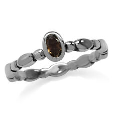 Natural Smoky Quartz 925 Sterling Silver Stack/Stackable Solitaire Ring