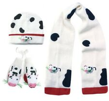 Promo Kidorable Child Knitted Cow Design Knitwear Sets White Scarf Hat Gloves