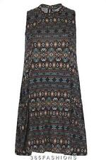STELLA MORGAN AZTEC PRINT SLEEVELESS POCKET DRESS BLUE SIZE 8 10 12 14 16