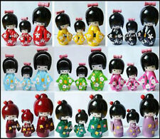 3pcs/set Handmade Cute Japanese Kokeshi Girls Wooden Dolls Craft Gift Set