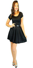 Labreeze Ladies Women's Black Flared Swing Cap Sleeve Belted Skater Dress