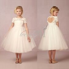 Vintage Girls White Dress Flower Princess Formal Party Wedding Bridesmaid Dress