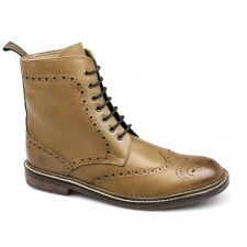Lucini Mens Leather Wide Fit Lace-Up Brogue Comfy Formal Ankle Derby Boots Tan
